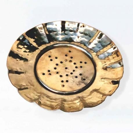 Porte savon - Cuivre martelé étamé rond - 140x20mm