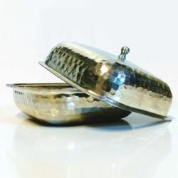Boite à coton cuivre martelé étamé 125x125x70mm